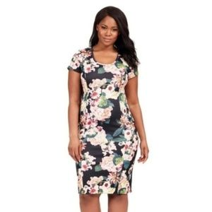 Adrianna Papell Floral Exposed Zip Sheath Dress